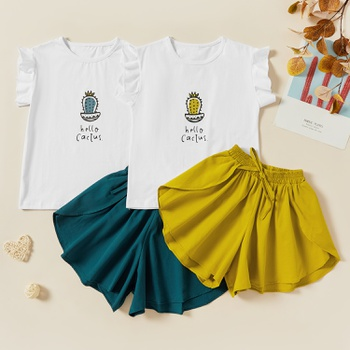 Kids Girl Cotton Cactus Print Ruffled Tee and Strappy Shorts Set