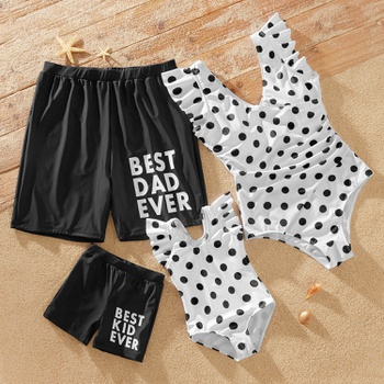Family Look Solid Letter Print Shorts and Polka Dot One-piece  Matching Swimsuits