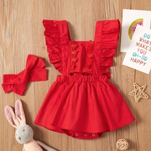 2-piece Baby Flutter-sleeve Lace Dress Romper with Headband Set