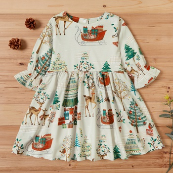 Baby / Toddler Vintage Print Long-sleeve Dress