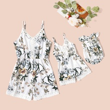 Floral Print Lace Side Matching White Sling Shorts Rompers