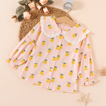 Baby / Toddler Girl Pineapple Lace Collar Shirt