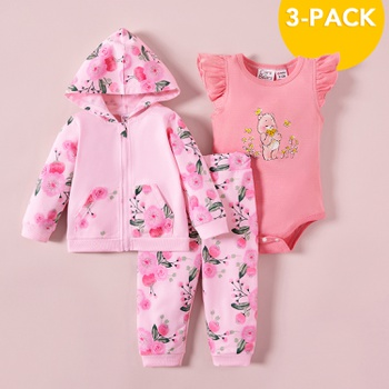 Care Bears Baby Girl 3-pack Cotton Hooded Sweatshirt and Pants and Romper Sets