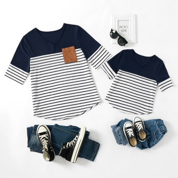 Stripe Print Short Sleeve T-shirts for Mom and Me