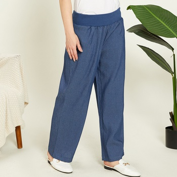 Mid-waist Solid Denim Yoga Pants