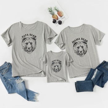 Animal Bear Print Grey Cotton Family Matching Short Sleeve T-shirts