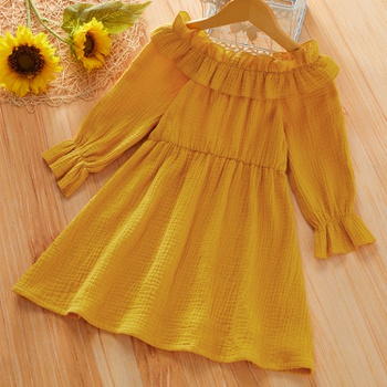 Toddler Girl Solid Ruffled Long-sleeve Dress