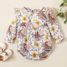 Baby Ruffled Floral Long-sleeve Rompers