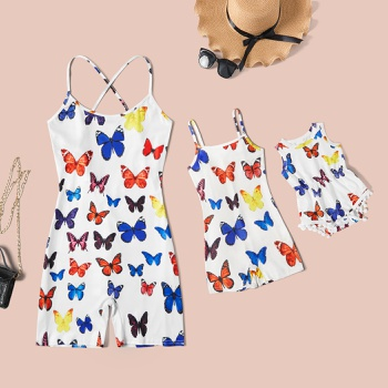 Butterfly Print Tight Sling Short Rompers for Mommy and Me(Cross Back Rompers for Mom)