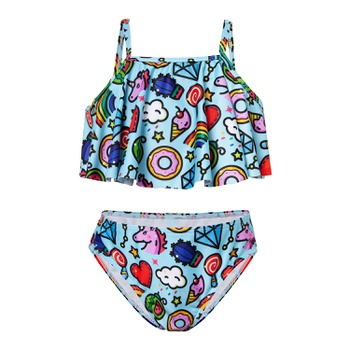 Trendy Unicorn Allover Suspender Swimsuit Set