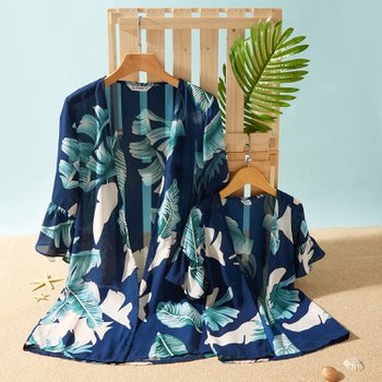 Leaf Print Flared Sleeves Cover Up for Mommy and Me