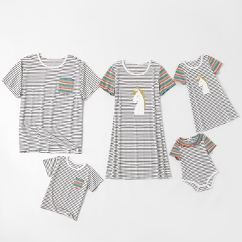 Stripe Unicorn Series Family Matching Sets(Short Sleeve T-shirts Dresses for Mommy and Girl)