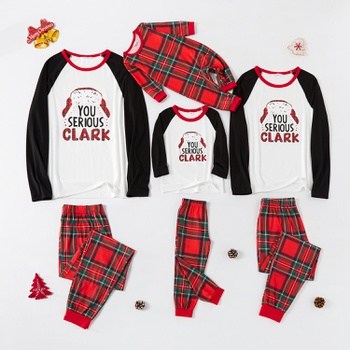 Family Matching ' You Serious Clark ' Plaid Christmas Pajamas Sets (Flame Resistant)
