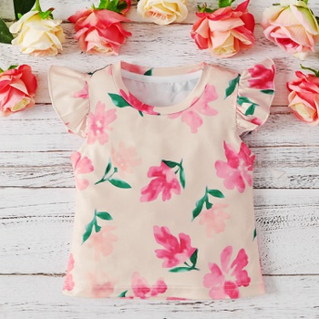 1pc Baby Girl Short-sleeve Sweet Floral Tee