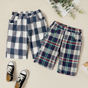 Kids Boy Plaid Side-pocket Elasticized Shorts