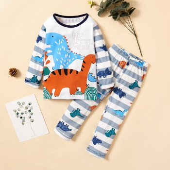 2-piece Baby / Toddler Dinosaur Striped Long-sleeve Top and Pants Set
