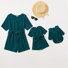 100% Cotton V-neck Midi-sleeve Solid Rompers for Mommy and Me