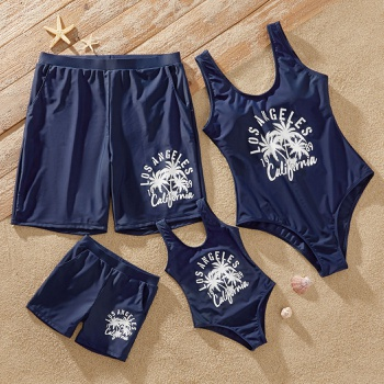 Letter and Coconut Tree Print Family Matching Swimsuits