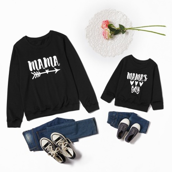 Letter Print Black Sweatshirts for Mom and Me