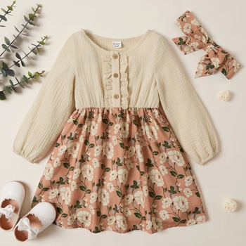 Toddler Girl Vintage Floral Print Flounced Splice Long-sleeve Dress