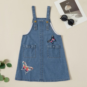 Kids Girl Butterfly Pocket Denim Suspender Dress