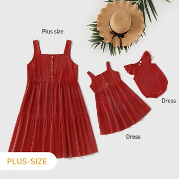100% Cotton Solid Ruffle Hem Tank Dresses for Mommy and Me