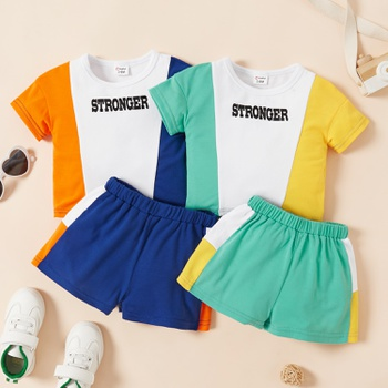 Baby Unisex Casual Letter Top & Shorts Set