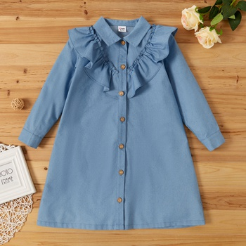 Kid Girl Retro Denim Dress