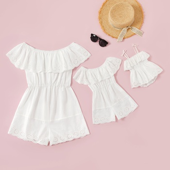 100% Cotton Lace Flounce Off-shoulder Solid  Rompers for Mommy-girl-baby