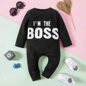 Cool Letter Print Long-sleeve Jumpsuit in Black for Baby Boy