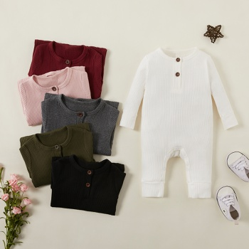 Baby Boy / Girl Cotton Solid Cardigan Long-sleeve Jumpsuit