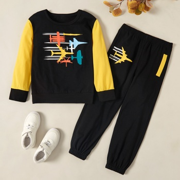 Trendy Plane Print Cartoon Sweatshirt and Pants Set