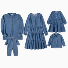 Mosaic Denim Family Matching Sets(Shirt Dresses - Solid Button Front Shirts)