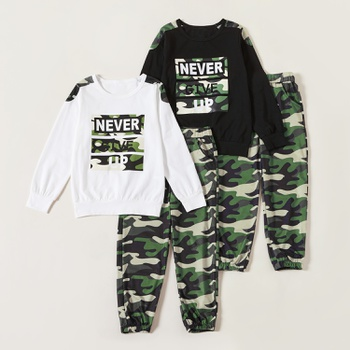 Trendy Camouflage Letter Print Sweatshirt and Pants Sets