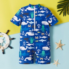Toddler Boy Sea Animal Pattern Short Sleeve Swimsuit