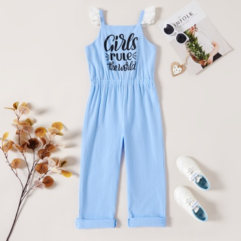 1 pc Kid Girl Letter Short-sleeve Cotton Wide trousers Rompers