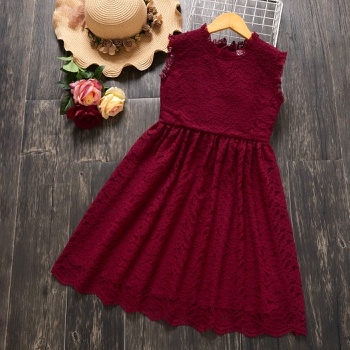 Stylish Kid Girl Princess Lace Sleeveless Solid Dress