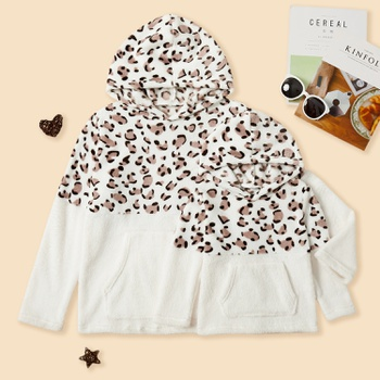 Leopard Splice Print Plush Hoodies Sweatshirts