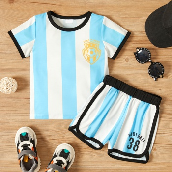 2-piece Toddler Boy Sporty Striped Football Tee and Shorts Set