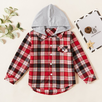 Kids Girl Plaid Hooded Shirt