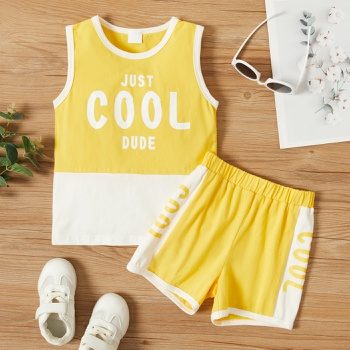 2-piece Toddler Boy Letter Camisole and Shorts Set