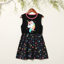 Kids Girl Unicorn Stars Allover Sleeveless Dress
