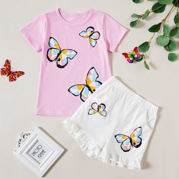 2pcs Kid Girl Short-sleeve Butterfly Shorts Suit Retro Suits