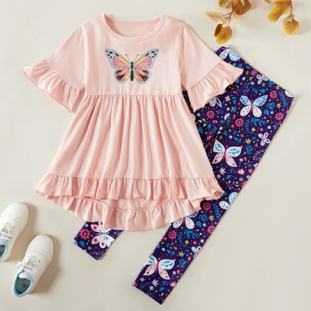 Kids Girl Butterfly Print Ruffle-sleeve Tee and Allover Print Pants Set