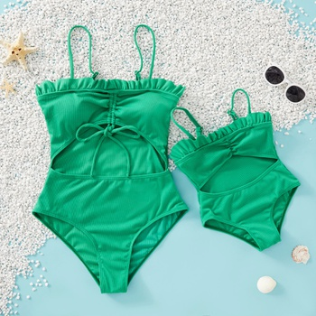 Mommy and Me Ruffle Decor Hollow Out Solid Swimsuits