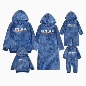 Mosaic Family Matching Happiness Letter Print Blue Sets(Hoodies Sweatshirts - Dresses - Rompers)