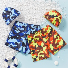 Kids Boy Camouflage Shorts with Hat Swimsuit