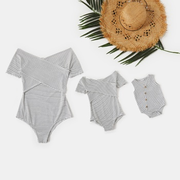 Off-shoulder Striped Rompers for Mommy-girl-baby