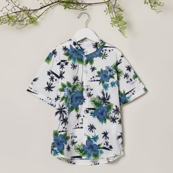 Trendy Coconut Tree Allover Print Stand Collar Top