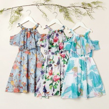 Kids Girl Floral Allover Print Ruffle Collar Dress